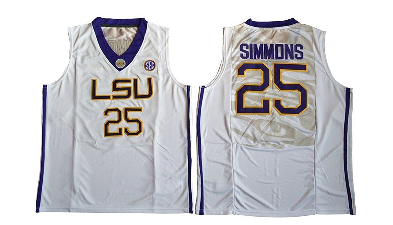 Get Quotations · Men s Ben Simmons  25 LSU Tigers College Basketball Authentic  Jersey White 4c7b0bc40