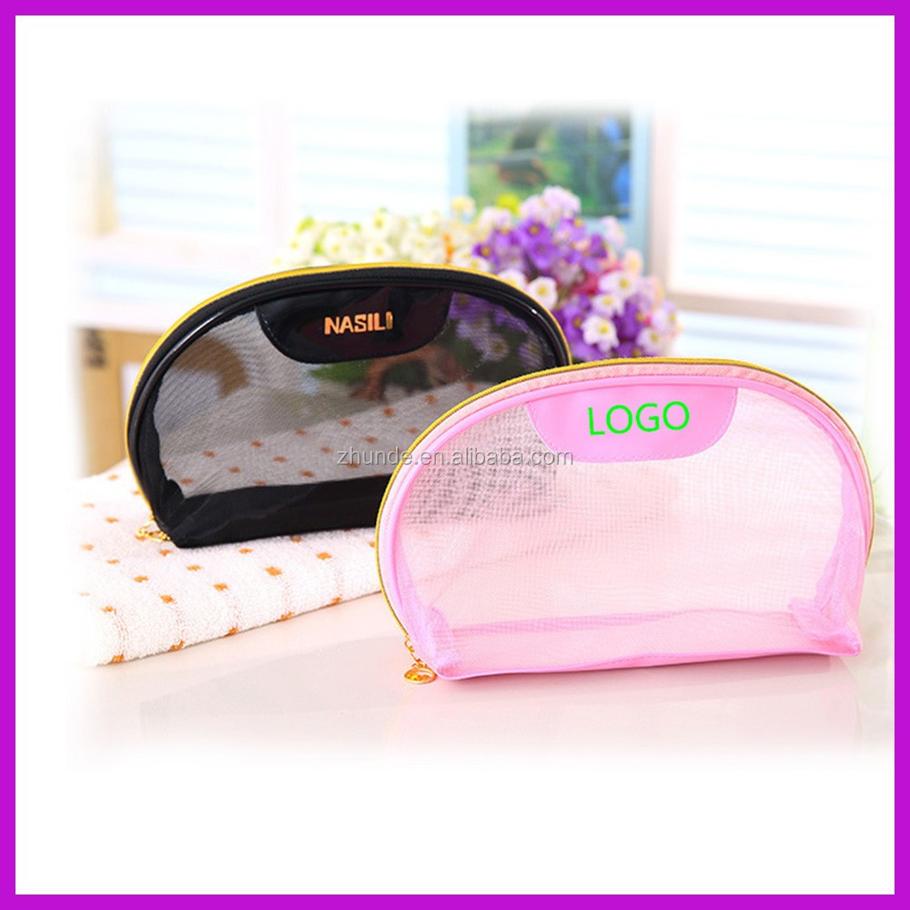 PU and nylon net fabricfashion traval cosmetic bag
