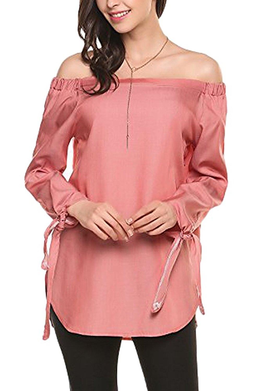 78ed76ce5b Get Quotations · Smibra Womens Loose Off The Shoulder Long Cuffed Sleeve  Denim Pleat Tunic Shirt Top