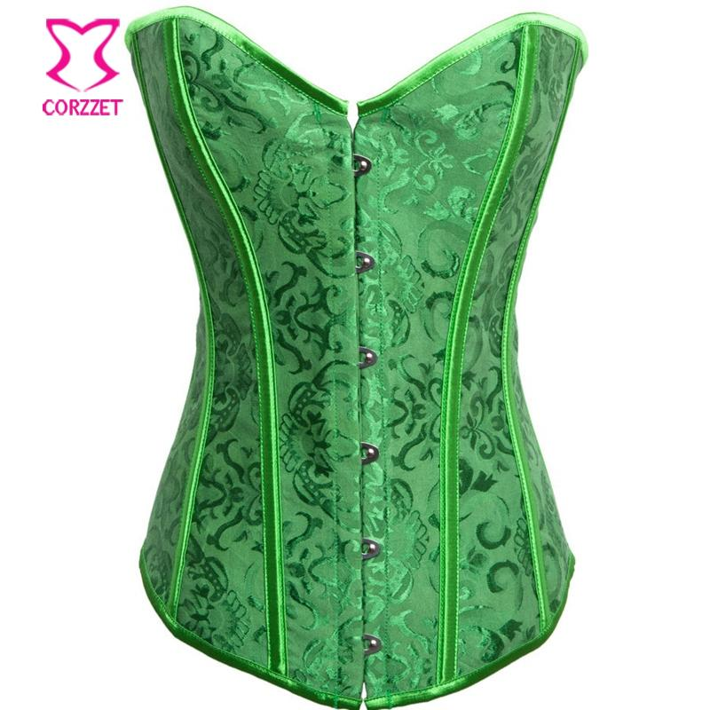 b68da82b085 Get Quotations · Latex Women Sexy Corsets And Bustiers Gothic Green  Jacquard Burlesque Corset Top Body Waist Training Bone
