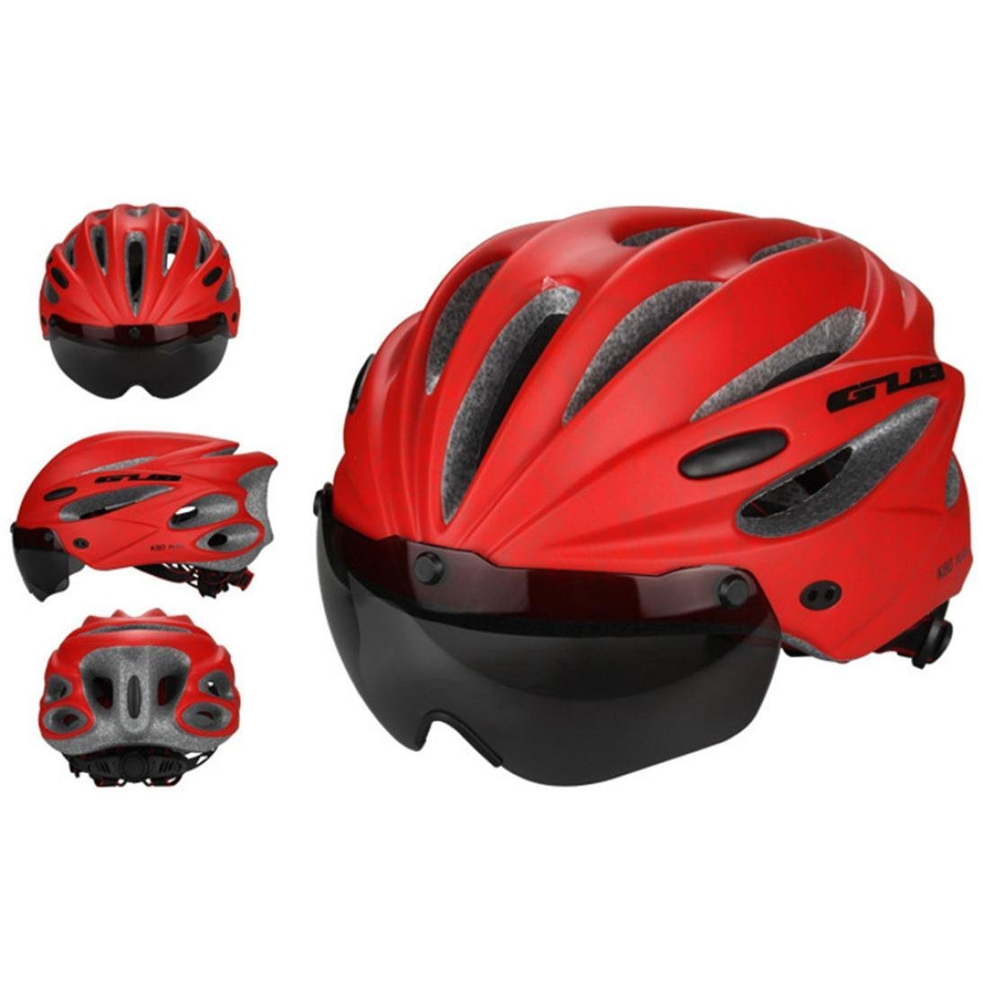 GUB K80 [ Magnet Goggles Integrated Helmet ] Mountain Bike ride Helmet [ EPS Wear Glasse Helmet ] (Orange)