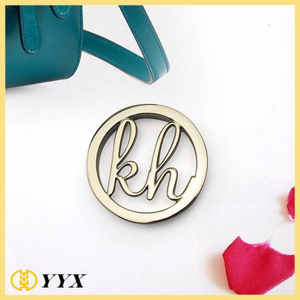metal brand logo label/metal logo tags for handbags/custom engraved logo metal plate