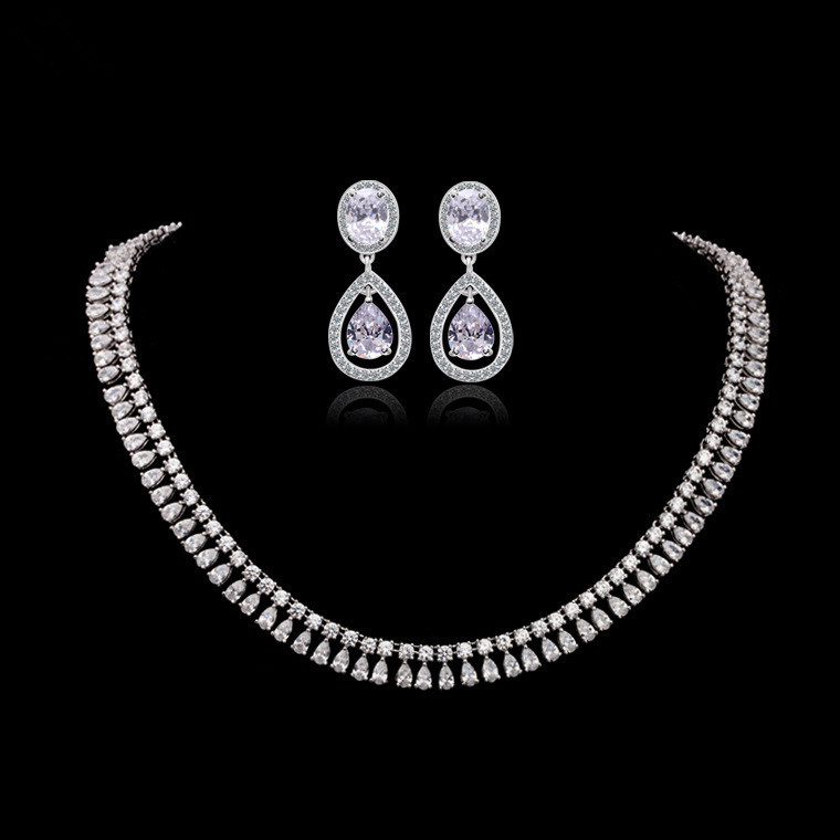 AAA Zircon Stone White Gold Tone Bridal Wedding Earring Necklace Jewelry Sets