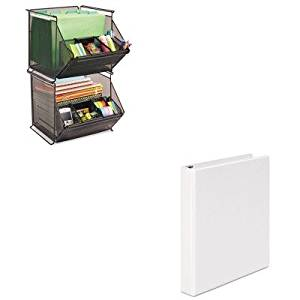 KITSAF2164BLUNV20962 - Value Kit - Safco Onyx Stackable Mesh Storage Bin (SAF2164BL) and Universal Round Ring Economy Vinyl View Binder (UNV20962)