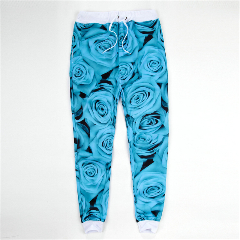 2015 new fashion men/women GYM sports 3D sweatpants print rose flower floral jogging pants running track pants joggers