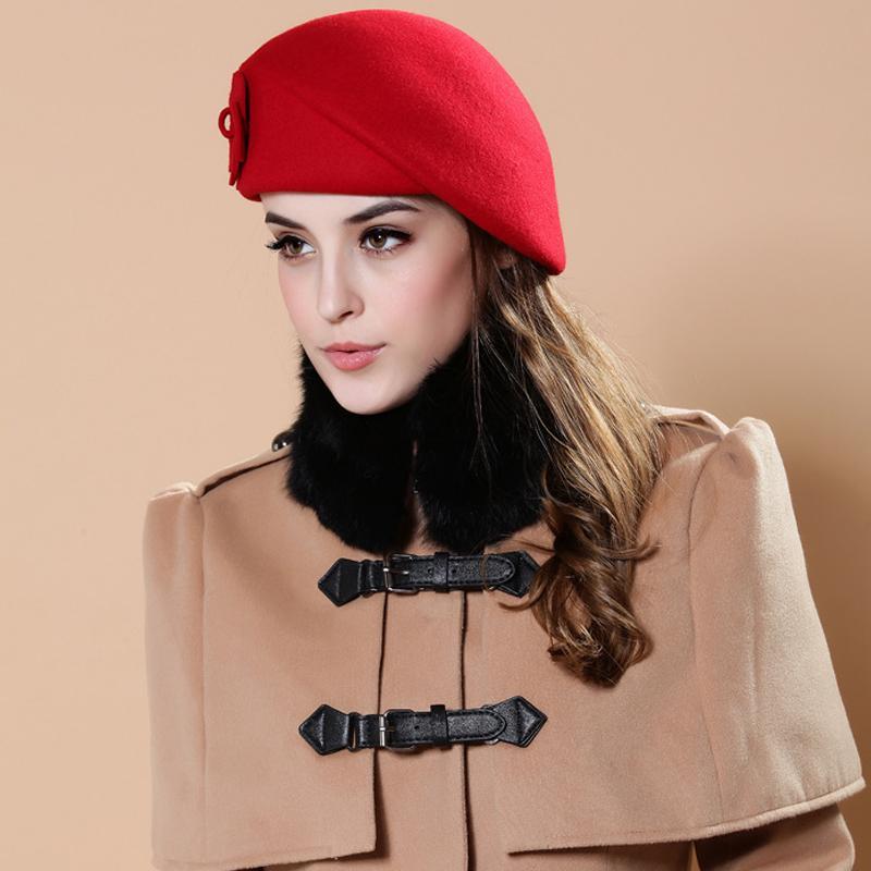 e188a25f4bb 2019 Wholesale Fashion Women Flower Beret Cap Winter New Sweet Style ...