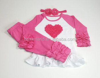 kids Icing Icing Ruffle Heart Raglan and Valentine Outfit