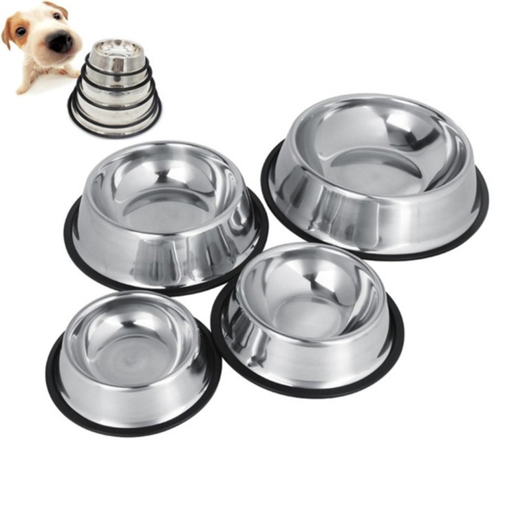 High Quality Rubber Non-slip Dog Feeder Metal Stainless Steel Pet Bowl