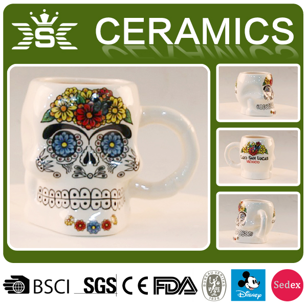 Wholesale Halloween horror skull plain lid white ceramic mug