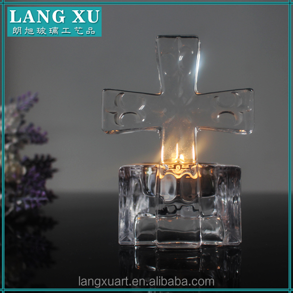 LX-Z140 Christian cross religious crystal tealight candle holder