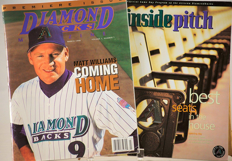 1998 - MLB - Arizona Diamondbacks - Diamondbacks Magazine Premiere Issue Vol. 1 / No. 1 - & - Inside Pitch Official Inaugural Game Day Program - Very Rare - Like New - Out of Print - Collectible