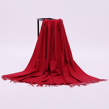 Women Red Cashmere Muffler Shawl Scarf