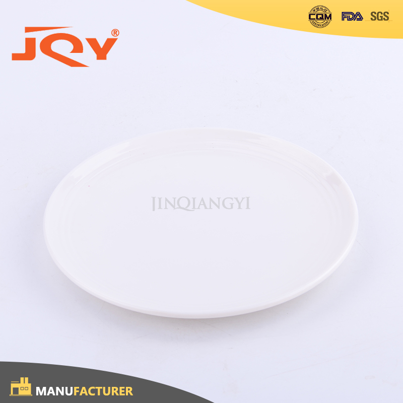 Hot sale custom print logo white serving melamine dish plate with sides