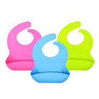 Amazon top seller bpa free waterproof silicon baby bib with catcher