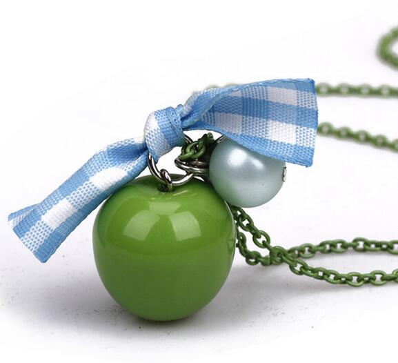 long jewelry green apple pendant checked ribbon bowknot necklace