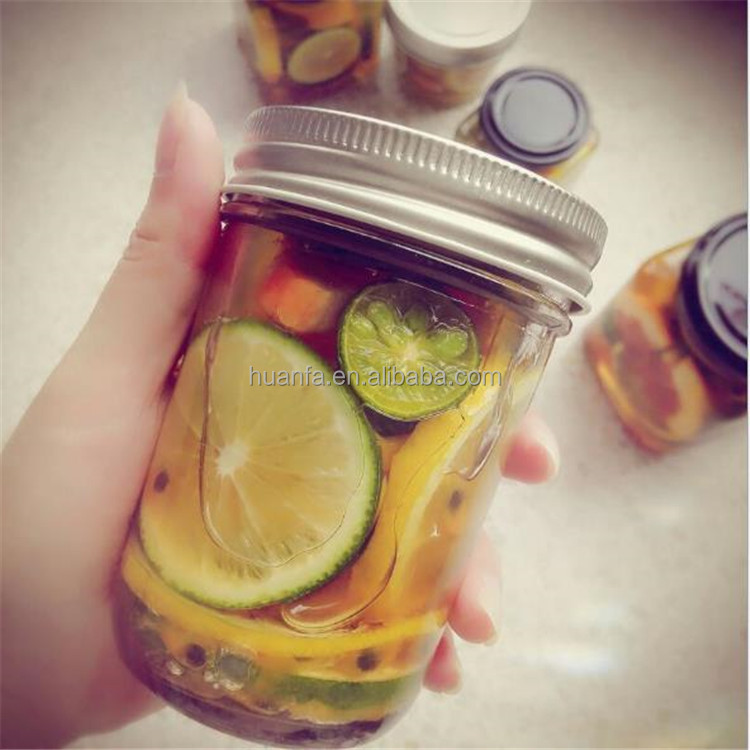 100/200/300/400 500 ML Clear Round Glass Mason Jar Honey /Jam /Canning /Jar with Colorful Metal Lid.