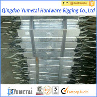 Zinc Anodes with Double Iron Feet for Ships