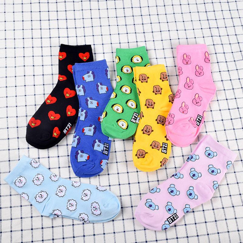 Alibaba.com / Kpop Stars BTS Cartoon Socks with Men and Women Spring and Autumn Warm Socks