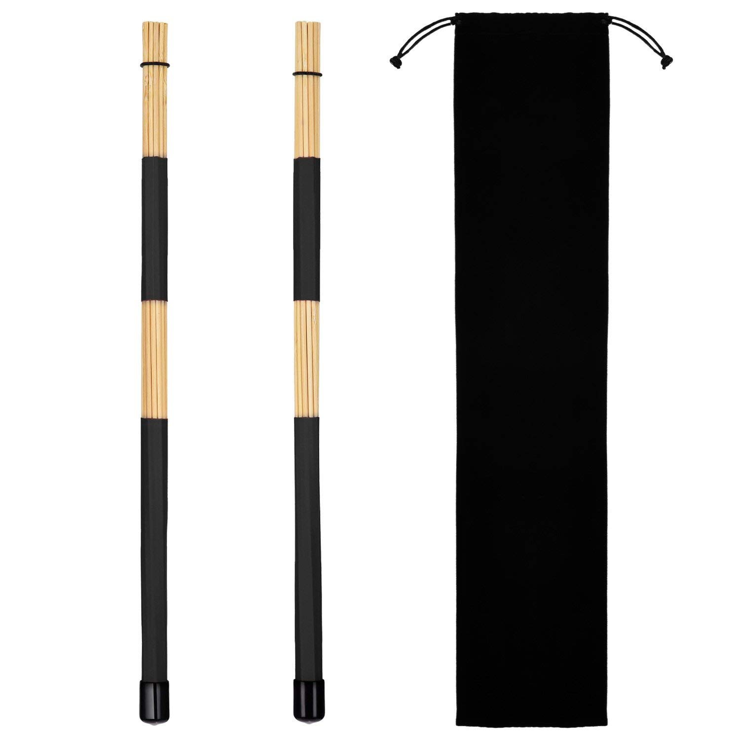 Pangda 1 Pair Rods Drum Brushes Sticks Drum Stick Set for Jazz Folk Music (Black)