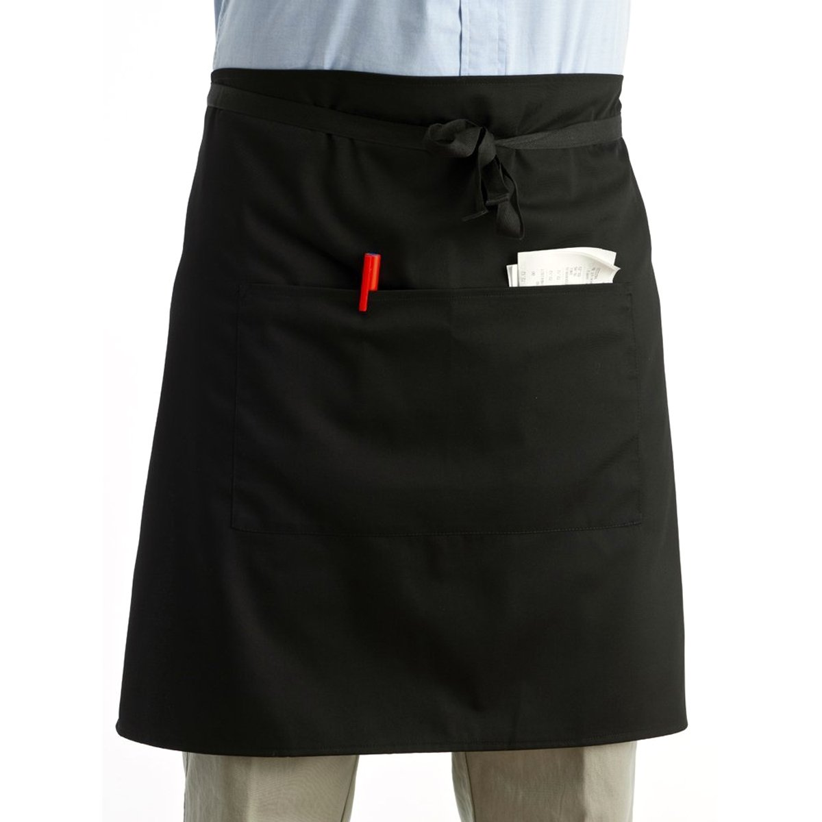 Pixnor Universal Unisex Women Men Kitchen Cooking Waist Apron Short Apron Waiter Apron with Double Pockets