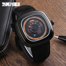 High quality skmei vintage watch strong leather strap waterproof men quartz watch