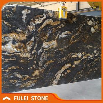 Brazilian Exotic Fusion Black Magma Gold Granite Slabs Slab Product On