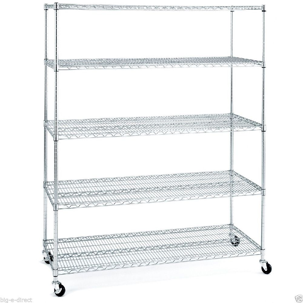 5 Tier Garage Rolling Metal Chrome Shelving Wire Storage Shelves Rack   Buy  Chrome Shelving,Kitchen Wire Storage Rack,Screwdriver Storage Rack Product  On ...
