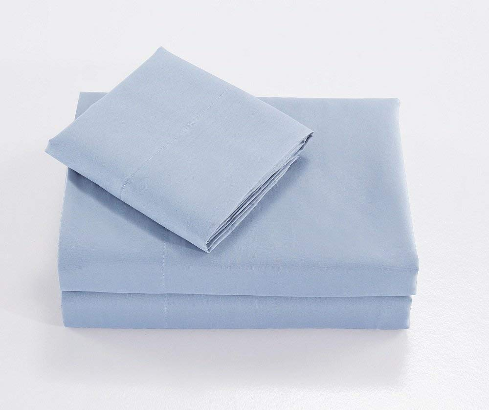 TAIVI Brushed Microfiber Sheet Set-100% Polyester,Hypoallergenic, Cool & Breathable,Easy Care-4 Piece (Light Blue, King)
