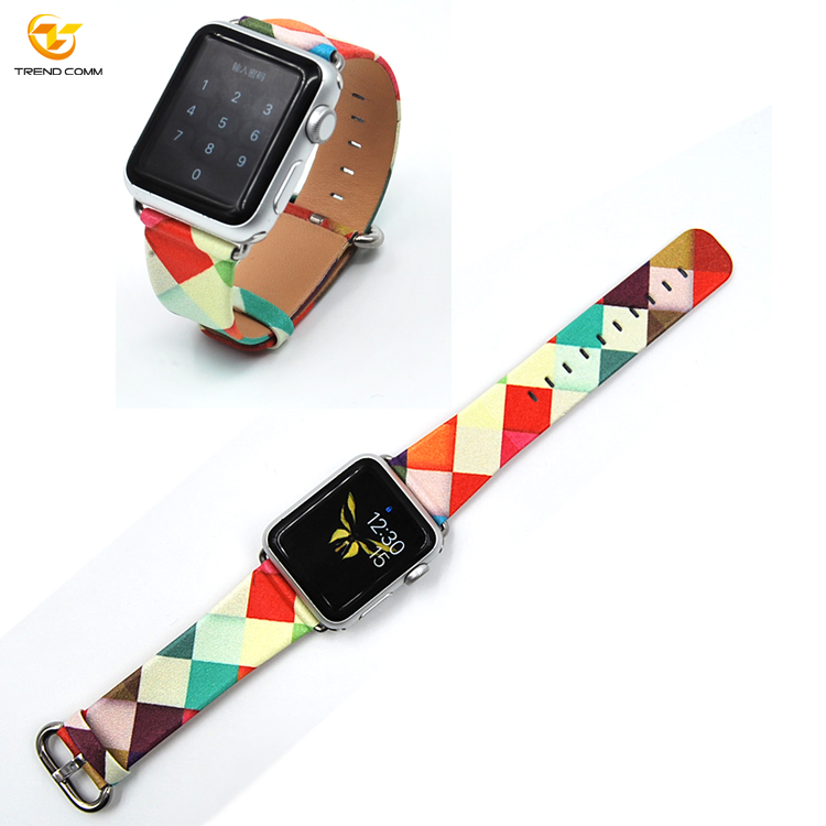 Custom 38mm handmade leather strap OEM printed for apple watch band