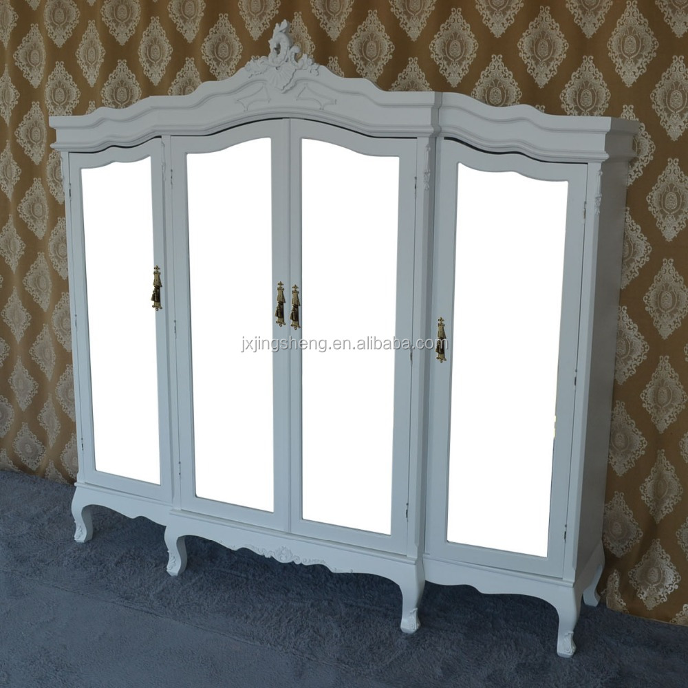 European style Chris hardwood and natural rattan mirror door wardrobe for bedroom