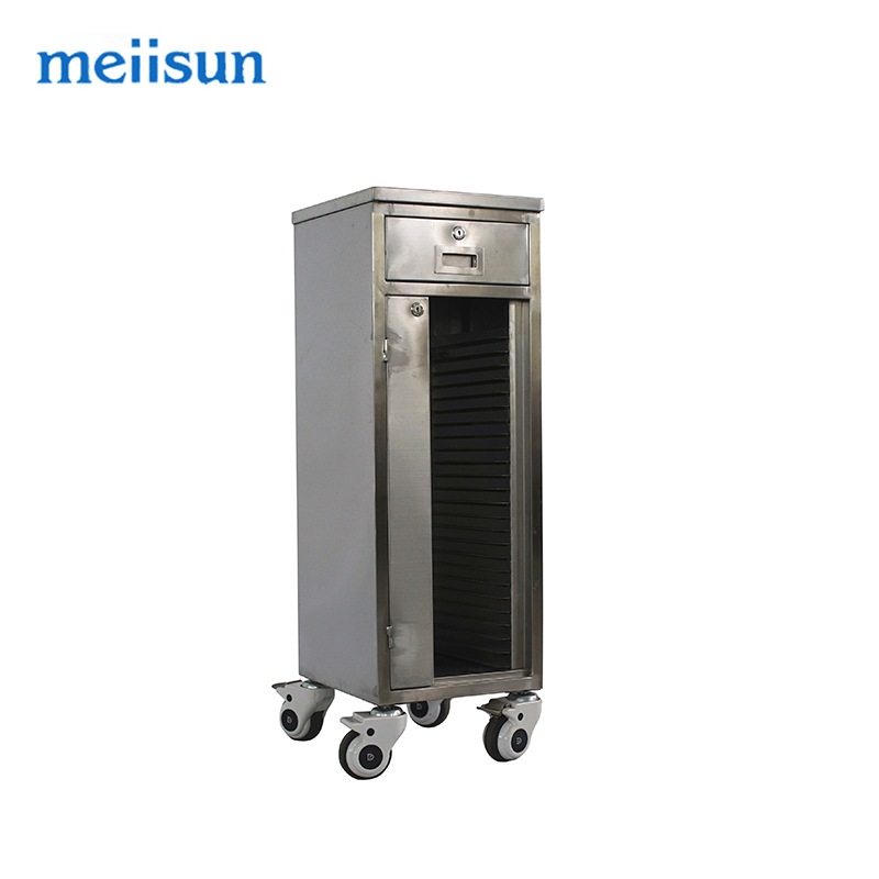 Hot sale QXC-010A stainless steel medical record cart with castors