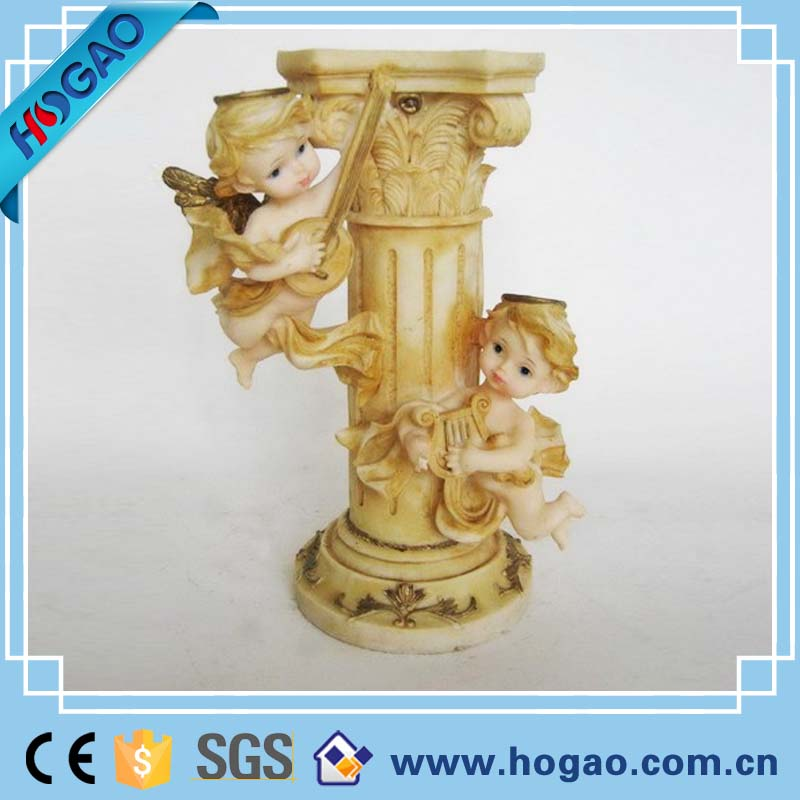 Wholesale Antique Resin Angel Cherub Candle Holder With Two Music Angels
