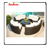 Shinygarden Circa All-Weather Wicker Round 4 Bench Conversation Set
