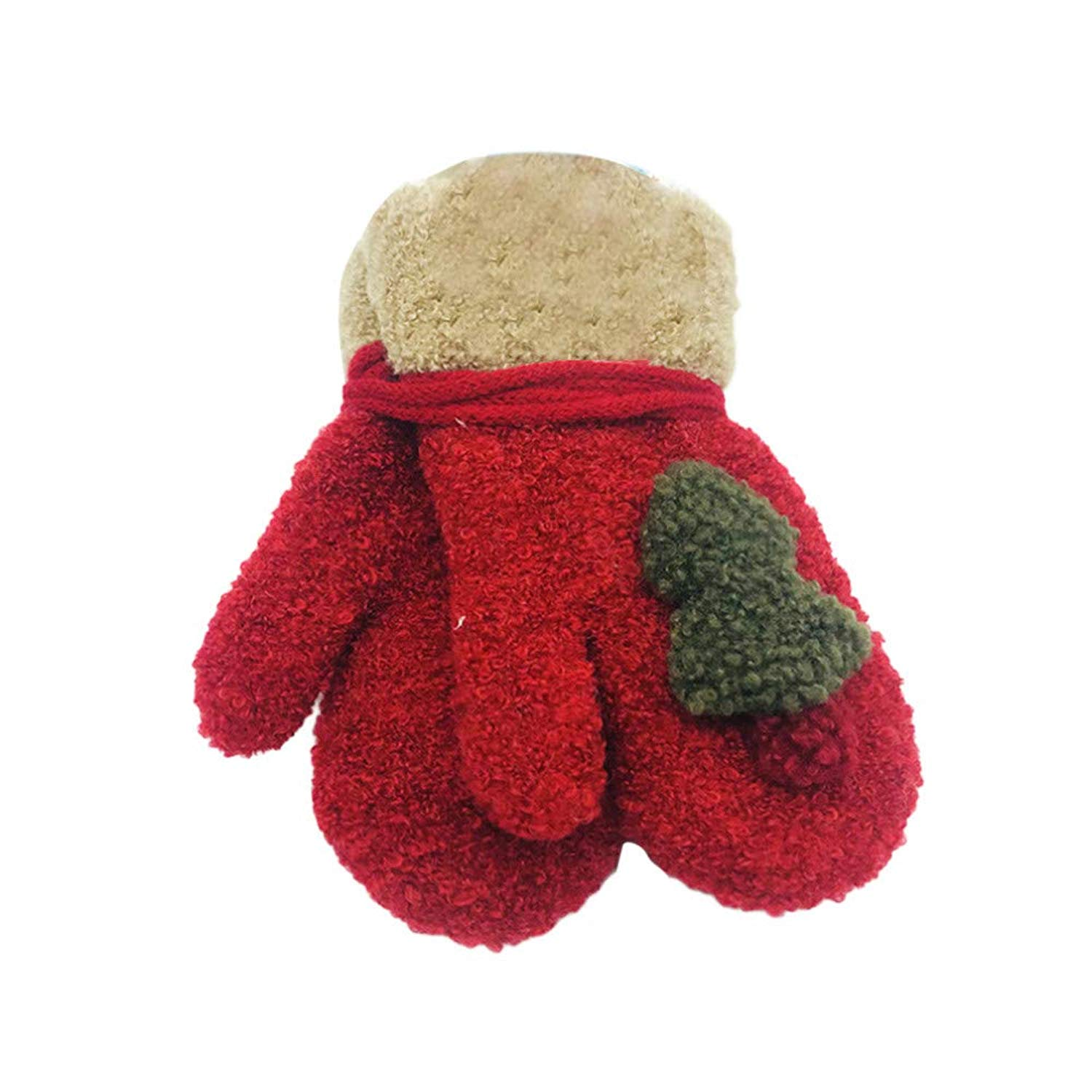 Toddler Child Winter Knitted Gloves Christmas Tree Ornament Boys Girls Cute Warm Gloves Xmas Gift