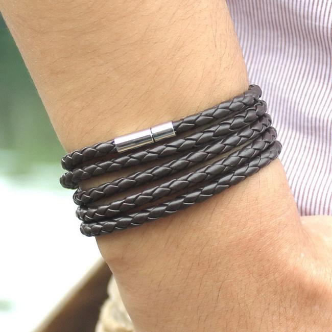 5 слой кожа браслеты и подвески браслет ручной работы круг веревка отложным пряжка браслет для женщины мужчины