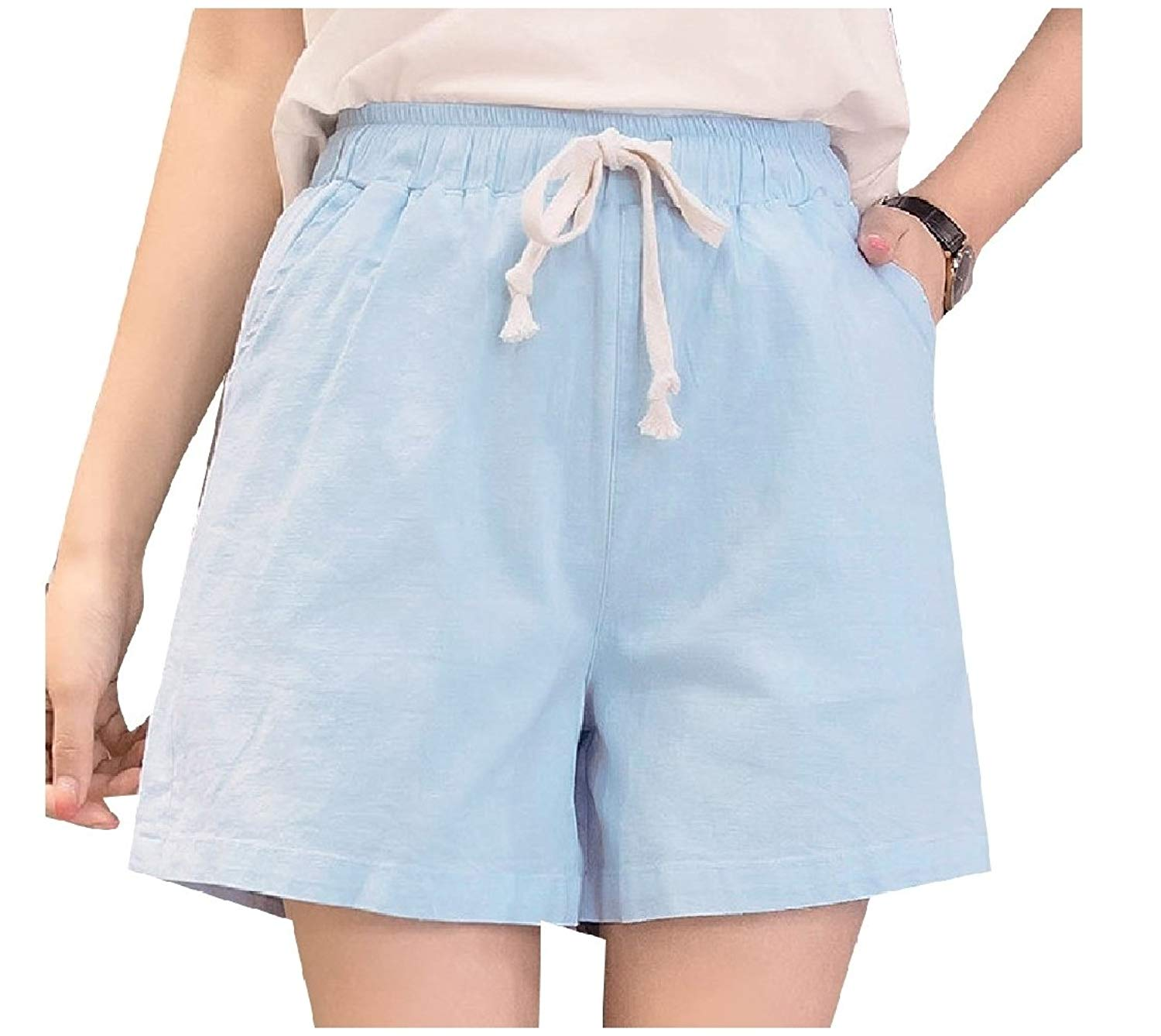 53496f4047 Get Quotations · Fieer Women s Wide Legs Plus Size Elastic Waist Board  Shorts Linen Baggy Shorts