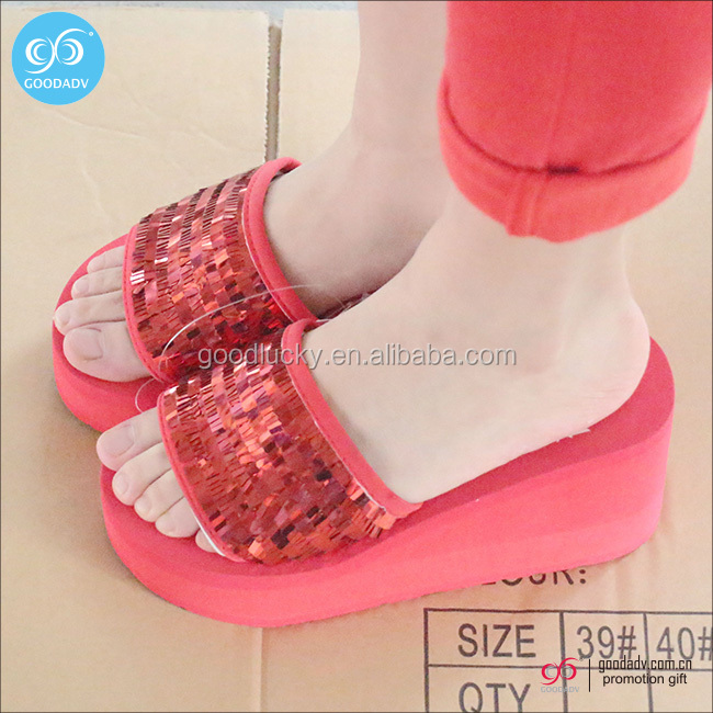 Wedding lady indoor slippers red high heel sandals slippers