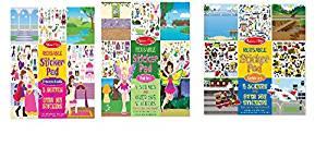 Melissa & Doug Bundle of 3 Reusable Sticker Pads, Fairies - Princess Castle - Vehicles.