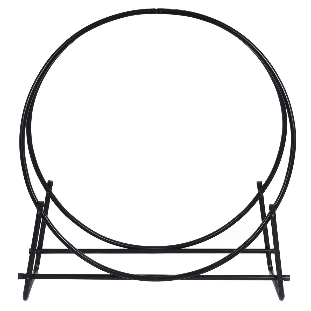 Maximumstore 40-Inch Tubular Steel Log Hoop Firewood Storage Rack Holder Round Display
