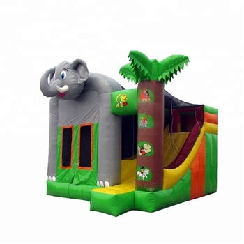 Colorful 0.55mm PVC  children outdoor elephant inflatable combo castle