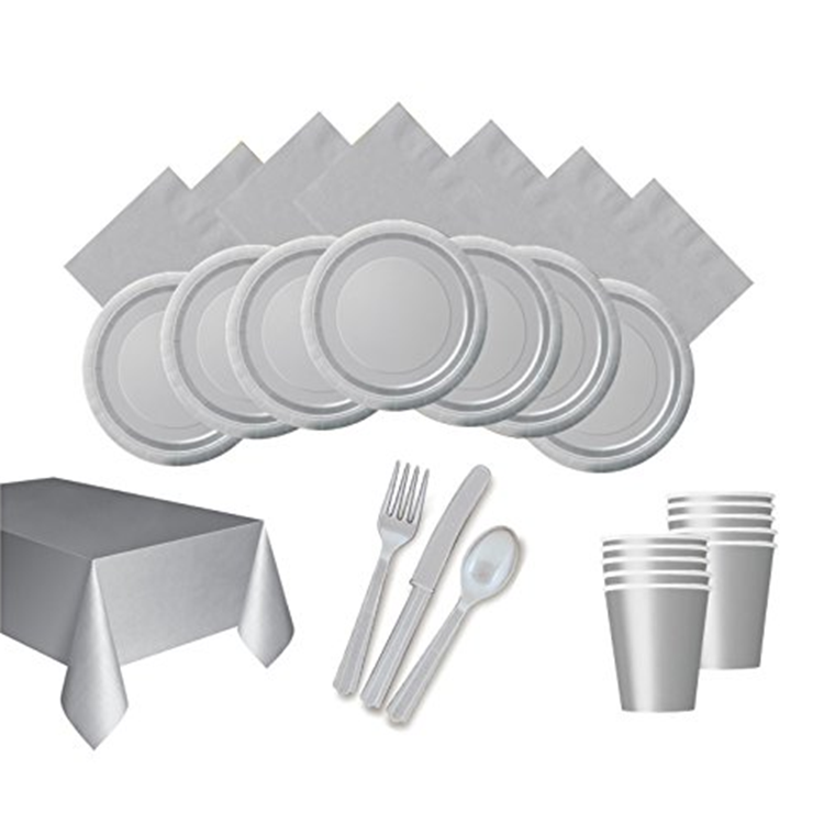 Solid gray Party Paper Disposable Tableware Set Fork knife Spoon Napkin