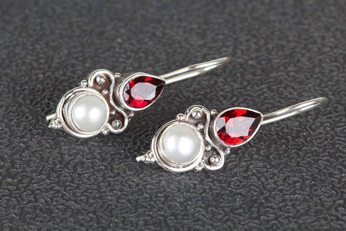 dc7af5cdb Get Quotations · Pearl & Garnet Earring, White Pearl Red Garnet Earring,  Gemstone Earring, Sterling Silver