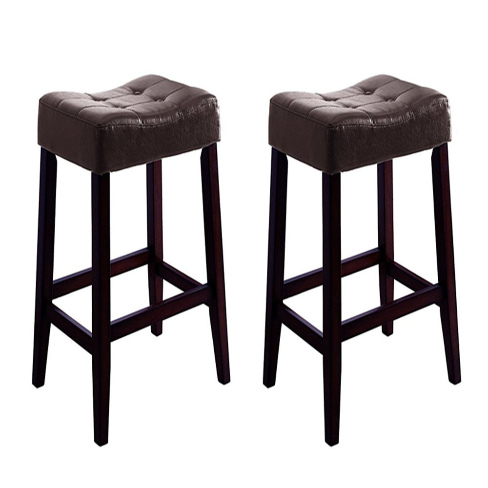 white saddle bar stools. Get Quotations · Saddle Bar Stool Homycasa Set Of 2 Chair Counter Stools In Espresso Seat White L
