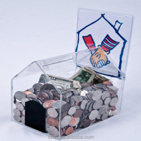 customized clear acrylic house shaped donation money coin box hot selling