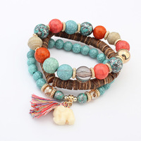 Best Selling Products Custom Wooden Bead Wrap Bracelet,Natural Turquoise Stone Bracelet Jewelry