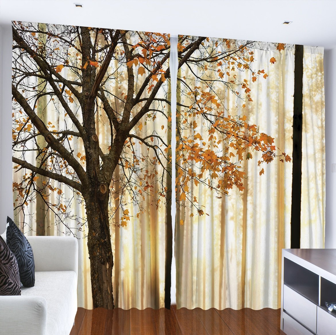 Get Quotations Curtains For Living Room By Ambesonne Fall Trees Woodsy Country Theme Home Decor Dining
