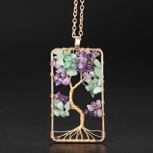 Fashion Natural Gravel Square Winding Life Tree Necklace for Women Men Christmas Gift