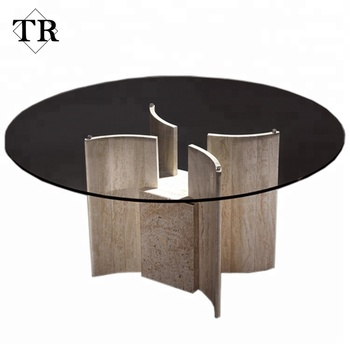 High Quality Marble Base Round Dining Table With Gl Top