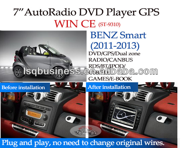LSQ Star Car Multimedia Player Android 4.0 For Smart For Two 2011-2012 Mp3 Radio Fm Tv Dvd Bluetooth Gps Navi Map
