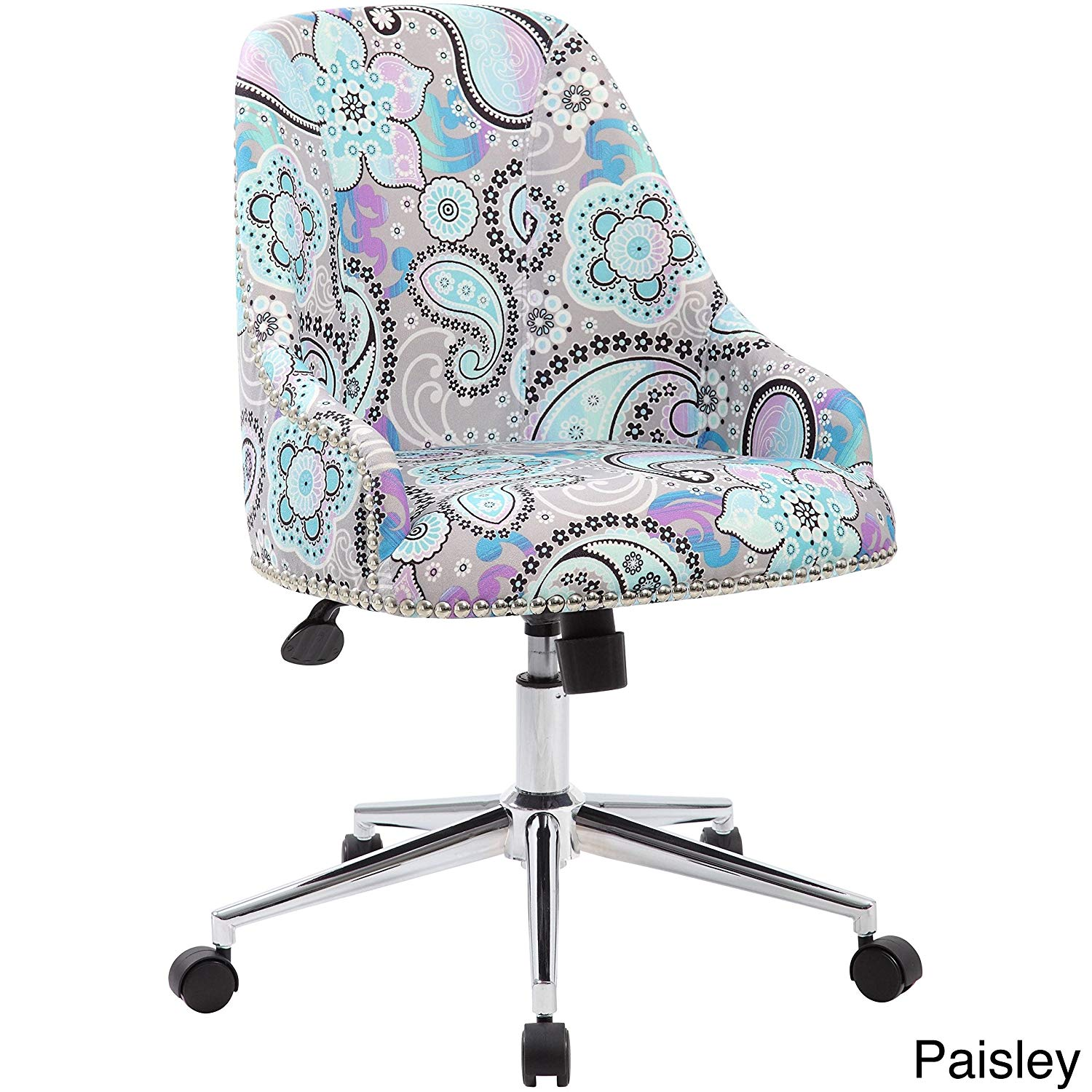 Fabric and Chrome Desk Chair, Sturdy, Silver Nail-Head Trim, Pneumatic Gas Lift Seat Height Adjustment, Upright Locking Position, Adjustable Tilt Tension Control, Compact Design, Multiple Colors
